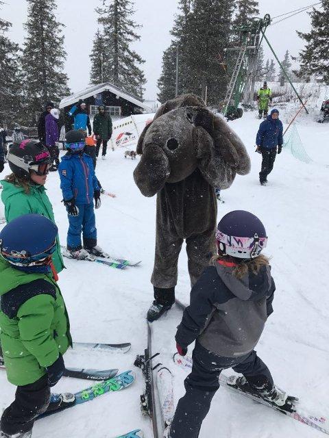 Skjærtorsdag var Barnas Dag på Spåtind. Under elgjakten skulle barna forsøke å fange elgen Elgar i full fart ned alpinbakken.