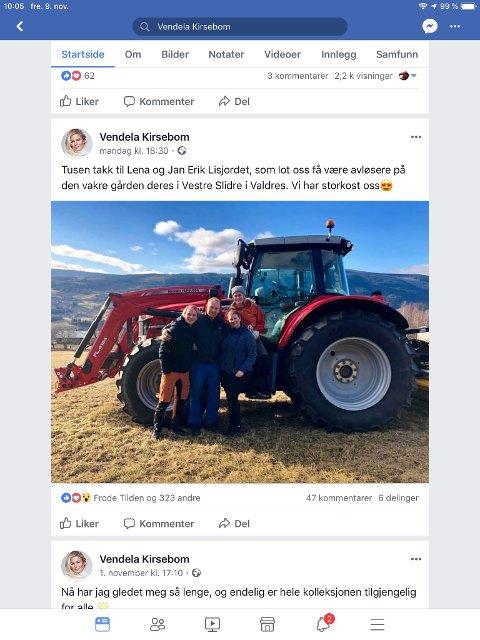 VALGTE VALDRES:  Petter Pilgård, Jan Erik og Lena  Lisjordet og Vendela Kirsebom på gården i Røn. Skjermdump Facebook