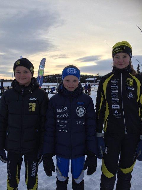 Fra høyre : Kaja Stende 12 år Raufoss, Vårin Schjetne 11 år Gjøvik og Martin Moslett Evensen 11 år Raufoss