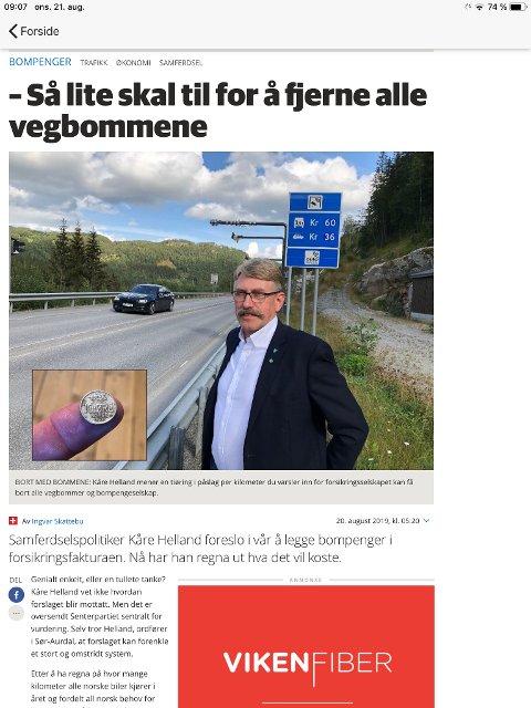 TI ØRE: Ti øre per kilometer på forsikringen kan fjerne alle norske vegbommer, har ordfører Kåre Helland regnet ut.