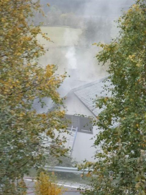 SER INGEN ÅPNE FLAMMER: Ragnhild Sundheim som var på stedet kunne ikke se åpne flammer i bygningen.