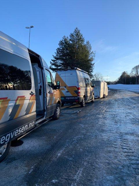KONTROLL: Statens vegvesen hadde kontroll ved Mjøsbrua tirsdag. Det førte til 23 reaksjoner.