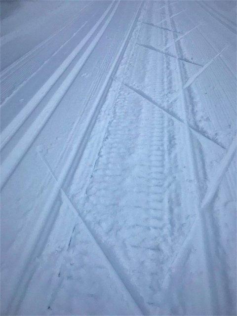 ØDELEGGENDE: Kort tid etter at løypemaskinen hadde kjørt, har en snøscooter brukt løypa som tumleplass. FOTO: TILSENDT