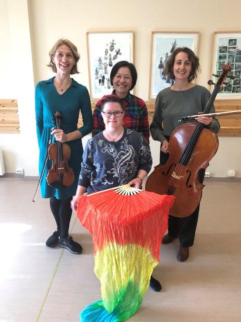 KLART FOR LUNSJKONSERT: Gjøvik trio med Ida Malene Christensen, Marieke Bettman og Mira Hsin-Bei Sagmo, har denne gangen med seg Guro Torkehagen Skumsrud som gjest når de opptrer på Kulturtrappa 26. mai.