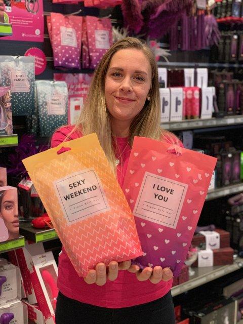 Butikksjef Therese Ringkilen (27) har startet feiring av Kondomeriet