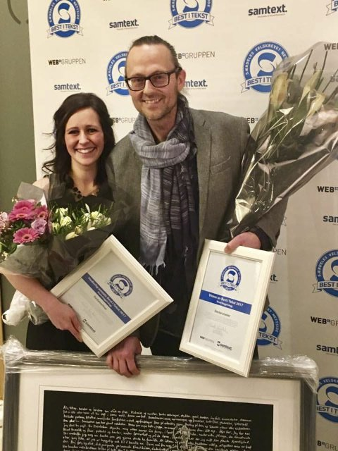 Priser: Torgeir W. Schancke ble vinner og Line Emilie Gjørtz-Larsen fikk hederlig omtale under «Best i tekst på nett» torsdag.