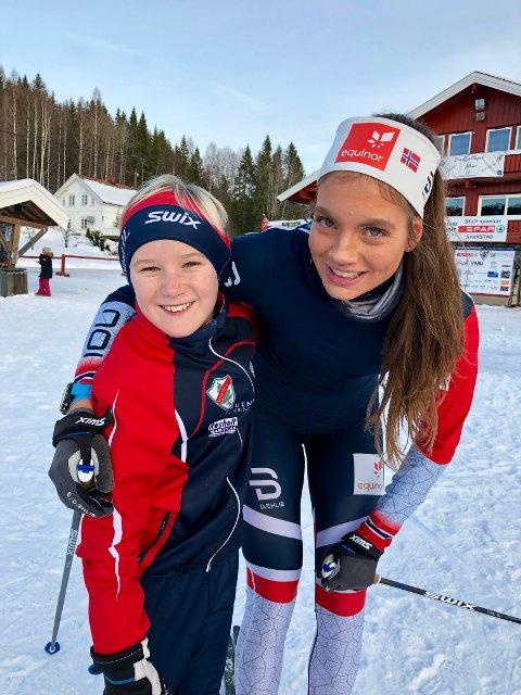 FORNØYDE: Svarstads Arnt Fjelldal og VM-aktulle Kristine Stavås Skistad.