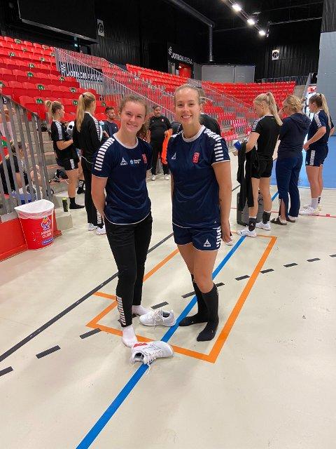 Skumle?: Guro Ramberg (t.v.) og Emma Skinnehaugen er verken store eller skumle, men de danner Larvik HKs kapteins-team i sesongen 2021/22.