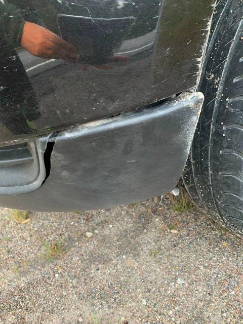 BILEN: Kamruds bil etter påkjørselen.