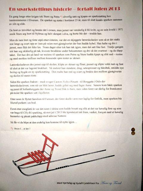 Brevet som lå under grana i 2013. Foto: Privat