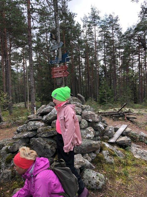 Stolpejakt: Denne turen gikk til Søndre Stange Varde sammen med datteren Monica Grøtvedt og barnebarnet Isabell.