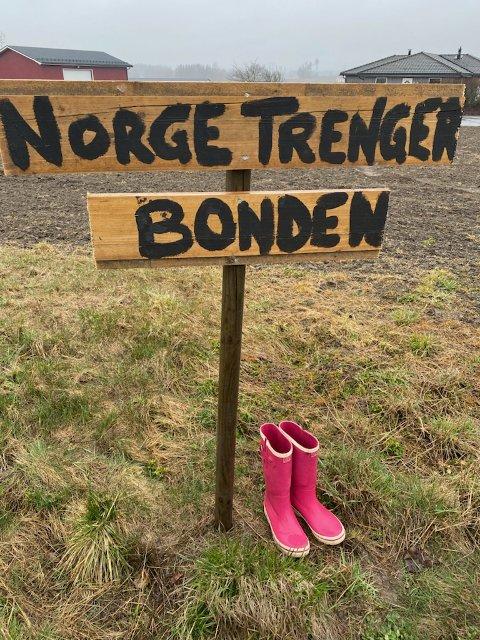 Støvler: Flere steder har bøndene satt ut støvler for å markere misnøyen med tilbudet fra staten i jordbruksoppgjøret. Bildet er fra Degernes.