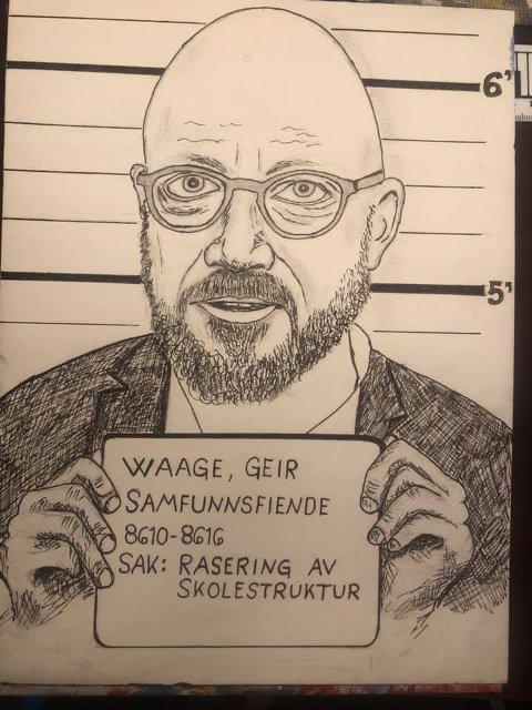 Denne tegningen av Geir Waage har blitt delt i sosiale medier.