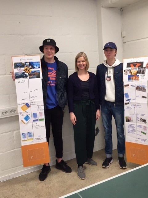 – INTERESSANT: Stortingsrepresentant Guri Melbymøtte Christian Kjærvik og Marcus Berger Fagereng på Unginvest i Hønefoss.
