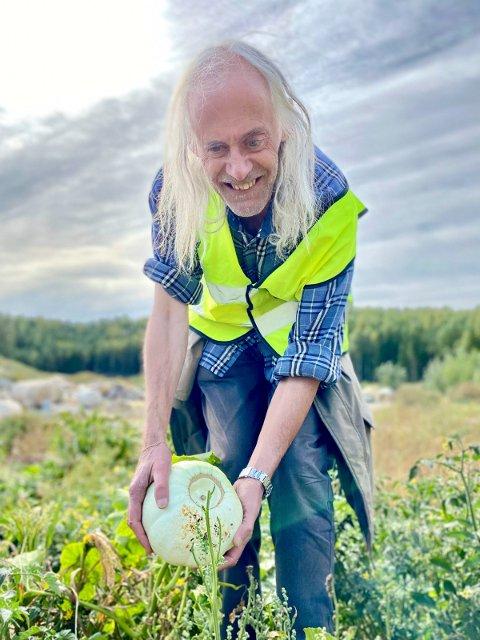 FANT STOR MELON: Botaniker Tore Berg snublet bokstavelig talt over en melon på Trollmyra!