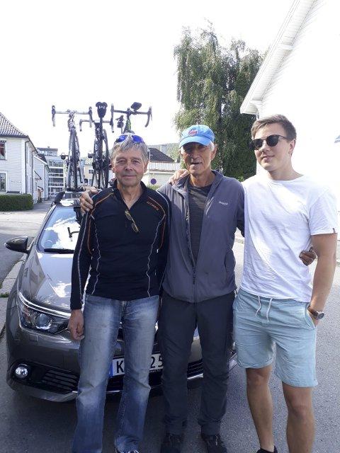 KLARE: Thor Harald Olsen, Ronald Aaslie og Mathias Myhre på vei mot Trondheim.