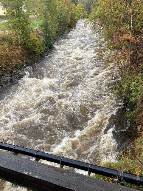 FLOMSTOR: Austbygdeåi var nesten flomstor etter all nedbøren siste døgn, men søndag ga regnværet seg, og vannstanden sank.