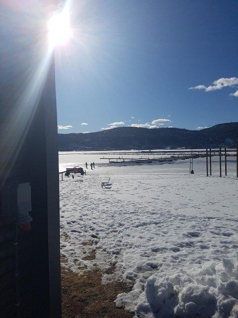 UTE PÅ ISEN: Her tok mannen bilde av barna. Han grøsser fortsatt ved tanken på at barna kunne havnet i vannet i området hvor det også er sterk strøm om dagen grunnet stor is- og snøsmelting.