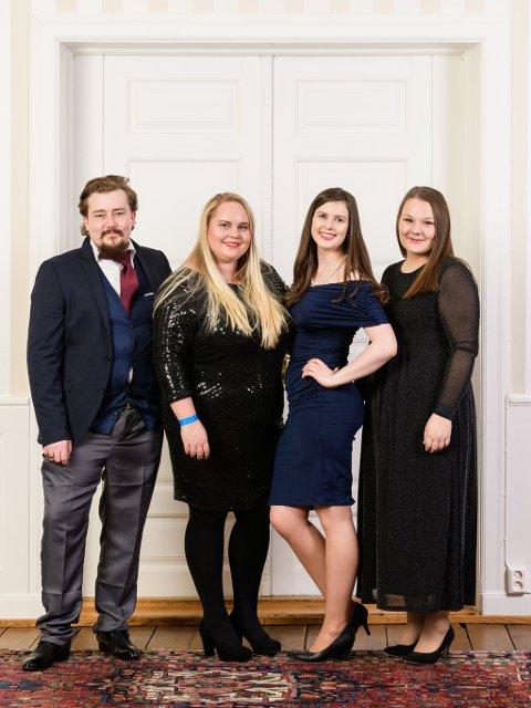 NYTT STYRE: Tommy Sommerstad (26, f.v.), førstevara, Silje Marie Hassum (22), nestformann, Silje Helen Sørhaug (21), fylkesformann og Martine Elvstedt (22), økonomiansvarlig.