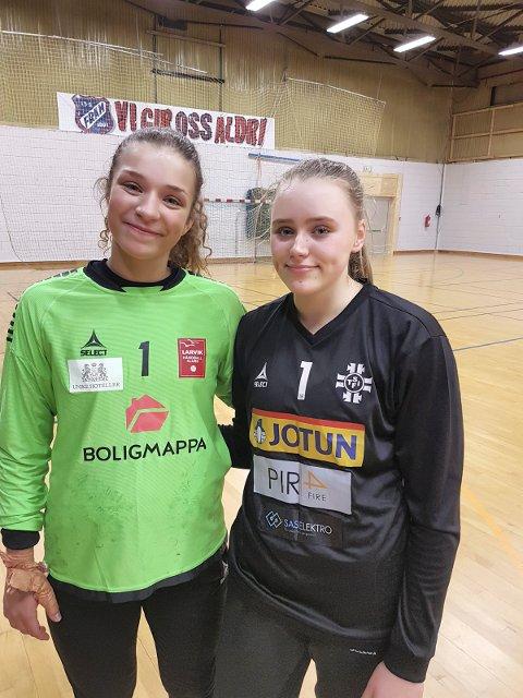 LOVENDE MÅLVAKTER: LHKs Kamilla Røed og STIFs Eli S. Skogstrand sto meget godt i J18-kampen i Framhallen.