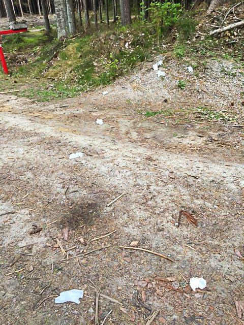 SØPPEL: Søppel strødd utover Kalnesskogen – ikke et syn turgåerne ønsker å bli møtt med.