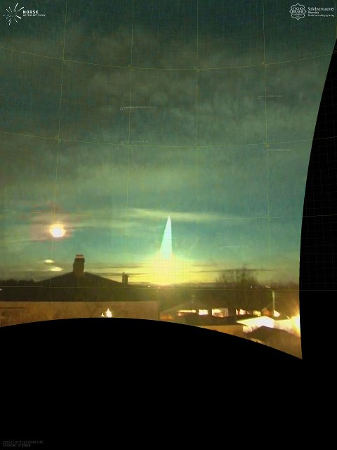 LYSGLIMT: Slik så lysglimtet på himmelen ut lørdag kveld.