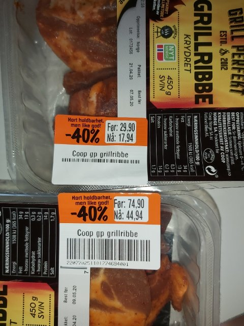 STOR FORSKJELL: Samme vare, samme dag – men vidt forskjellig pris i de to Coop-butikkene. (Foto: Privat)