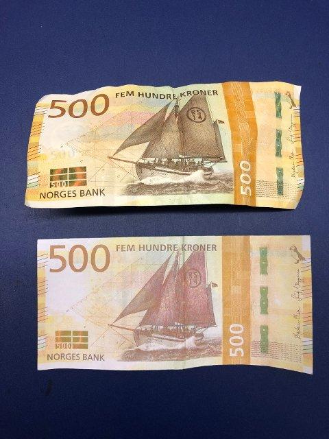 Politiet har denne uka beslaglagt to falske 500-lapper som har blitt forsøkt brukt i forbindelse med betaling i to ulike butikker i Sarpsborg.