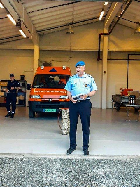 ÅPNET: Distriktssjef for Sivilforsvaret i Østfold, Gaute Molvær, under åpningen av det nye lageret på Ørje i mai i fjor. FOTO: Sivilforsvaret