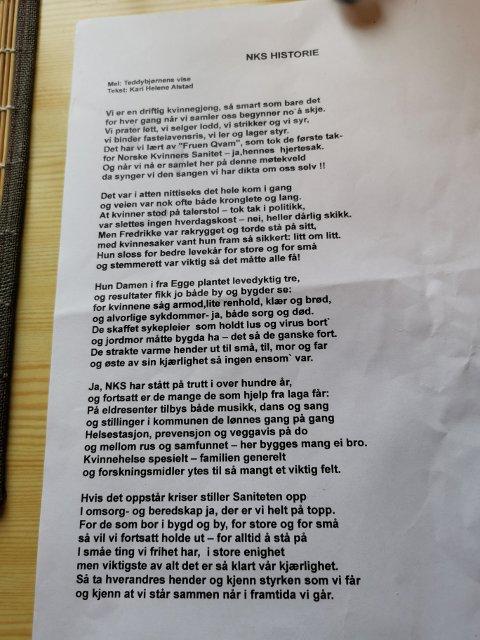 Denne NKS-sangen skrev Kari Helene Alstad da NKS jubilerte for noen år siden.