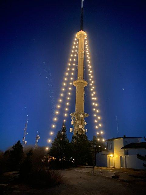 GLEDELIG SYN: Frem til cirka 13. januar skal julelysene på Vealøs pryde over Grenland. Foto: Tom Erik Holland