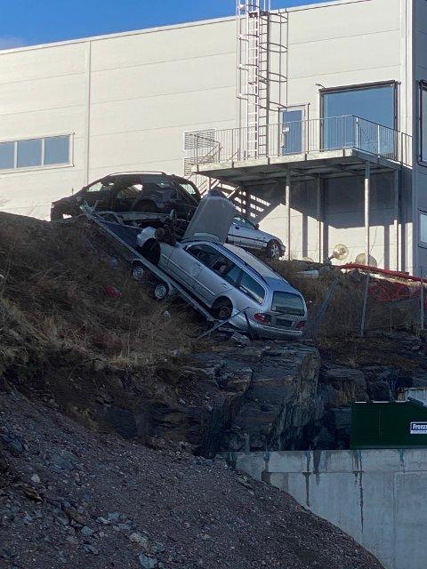 GRØFTA: Bilen har endt i grøfta en gang i løpet av lørdagen.