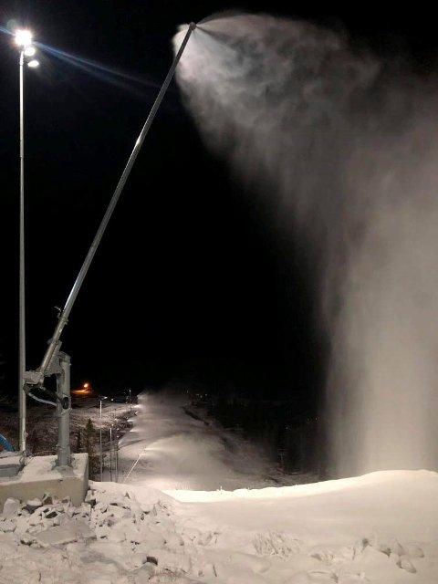 SNØ: Slik så det ut tidligere i uka i Hovdestaulbakken (foto Gausta Skisenter)