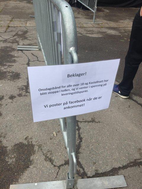 FORSINKET: Onsdagspassene til Slottsfjell og Kastellnatt er forsinket i tollen. De blir derimot klare til onsdag, forteller Presseansvarlig Silje Larsen Borgan.