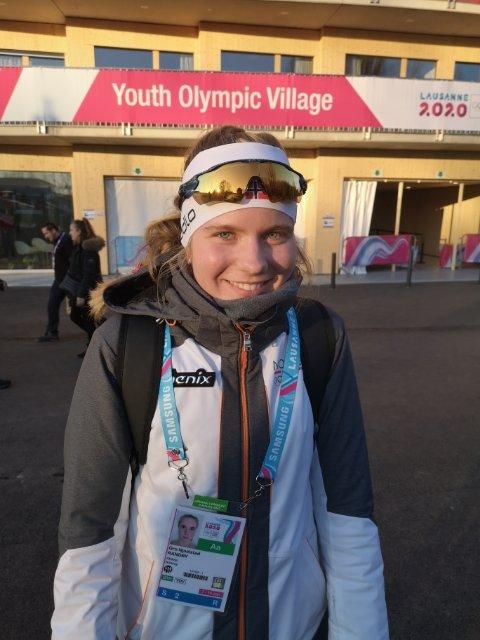 LEDET: Gro Njølstad Randby  Ledet mix-stafetten underveis og vekslet 11 sekunder bak Russland etter sin etappe.
