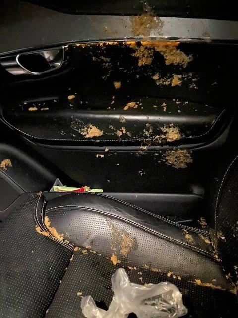 COLA-EKSPLOSJON: Slik så det ut inne i bilen til Fritz Bade (60) da han skulle dra på jobb torsdag morgen. En cola-boks hadde eksplodert i sprengkulden.