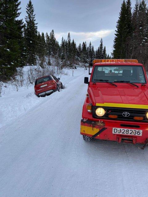 Denne bilisten var uheldig i Frosta lørdag formiddag.