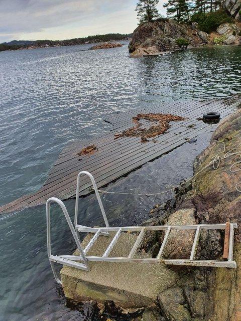 Dette er brygga Elling Vidar fant drivende i Hagefjorden. Her er den fortøyd.