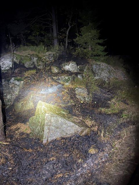 Slik så det ut rundt hytta etter brannvesenet hadde slukket brannen.