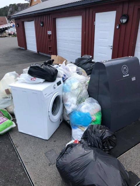 Oppgitt: Stein Løvdahl måtte bane vei mellom alt dette da han selv skulle kaste søppel. Foto: Privat