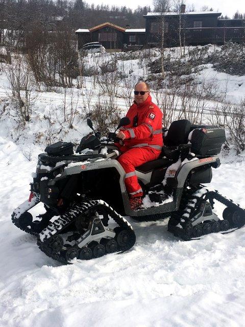 Stig Aastveit har påskevakt for Røde Kors på Beitostølen.