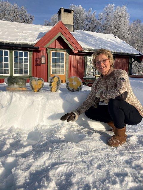 Nina Kjærnes fra Oslo med noen av lyktene hun har laget.