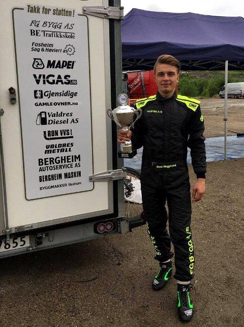 Vant: Regjerende norgesmester i 650 ccm-klassen, Even Heggelund, NMK Valdres, kjørte inn til seier i den første NM-runden i crosskart i Skien.