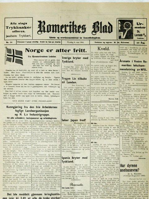 Forsiden på Romerikes Blad 8. mai 1945.