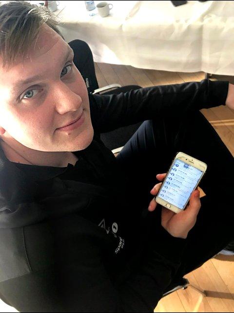 TELEFONEN FULL AV STØTTEMELDINGER: Det rant inn støttemeldinger på Vegard BakkenØiens telefon lørdag kveld.