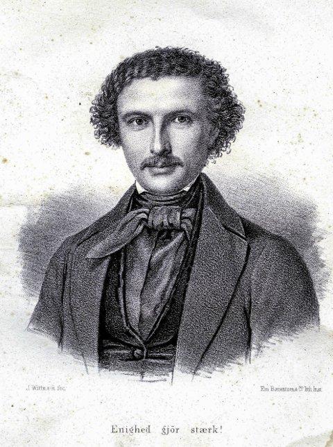JUBILEUM: Lørdag 14. oktober er det 200 år siden Marcus Thrane ble født. Litografiet av ham har påskriften «Enighed gjør stærk». Det sto det også skrevet på fanen til Arbeiderforeningen i Halden.