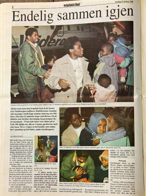 Da barna i familien Nhonzi kom til Sandnessjøen. Januar 1998. Faksimile: Helgelands Blad, 14. januar 1998.