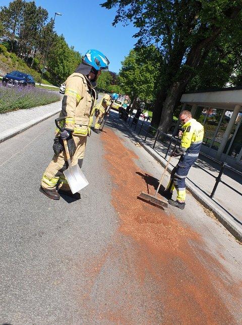 Brannvesenet stengte veien og samlet opp oljen ved å bruke bark.