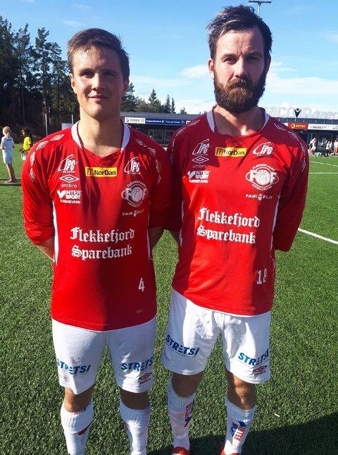 BORTESEIER: Flekkefjords målscorere Fredrik Abrahamsen og Dan-Christer Virak.