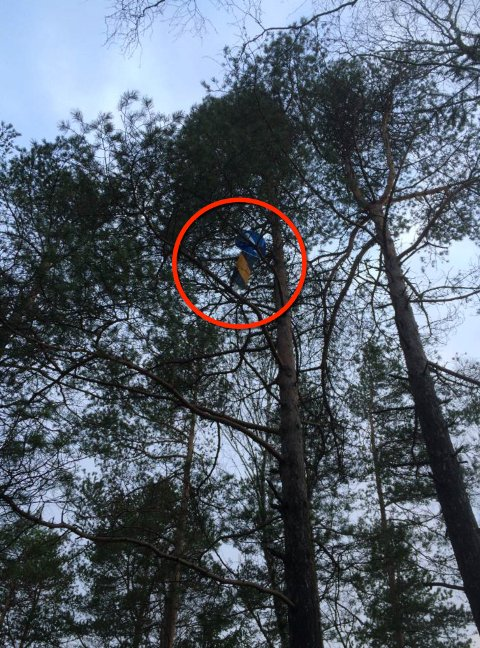 Spesielt: Arvid Lindberg ble mildt sagt overrasket da han så skiltet ti meter over bakken.